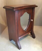 Antique Victorian Solid Mahogany Cabinet Jewellery or Keepsake 33 cms tall