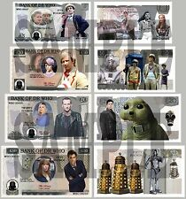 1ST SET OF 4 DR WHO / DOCTOR WHO DOUBLE SIDED FUN UK NOTES