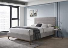 Belize Modern Grey Bed Frame Linen Fabric Scandinavian Retro 4FT6 Double