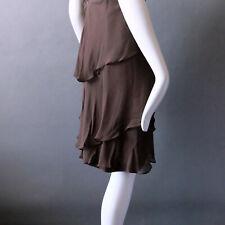 Chocolate Dark Brown Party Cocktail Dress Shawn Ray Fons Silk Sexy sz XXS XS 0