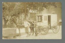 Elgin ILLINOIS RP 1913 MILK DELIVERY WAGON Milkman Posing nr Chicago St. Charles