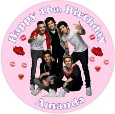 """7.5"""" ROUND ONE DIRECTION 1D EDIBLE PERSONALISED CAKE TOPPER ON ICING SHEET"""
