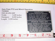 """Military Truck Data Plate """"PTO and Winch Operation""""   7539684,  9905-00-690-2689"""