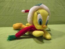 "1997 Play By Play Looney Tunes - Christmas Santa Tweety Pie Soft Beanie Toy 8"""