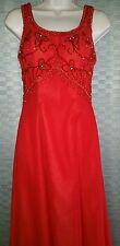 Cire Landa Formal Gown Red Beaded Sequins Prom Wedding Dance Womens sz 4 EUC