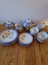 Vintage, collectible Lustreware tea set dishes hand painted