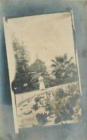 C-1910 Woman Cactus Garden RPPC Photo Postcard 2679