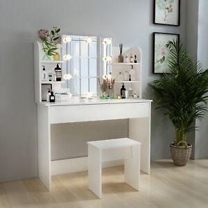 White Dressing Table Makeup Desk Vanity Set w/ LED Light Mirror, Drawer & Stool