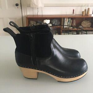 Swedish Hasbeens 41 Sheepskin Shearling Clog Boots EMY ZIP CLOG
