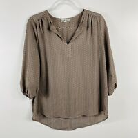 Pleione Size Small Printed Blouse Top Brown Black 3/4 Sleeve Career Work Casual