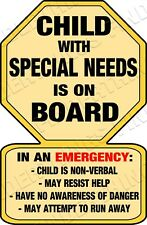 Child with Special Needs Warning Car Sticker Decal Yellow - Non Verbal Help