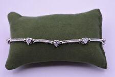 "Diamond Cut Miracle Set Heart Bar Tennis Bracelet Brass 5.00 CT 7.5"" Brilliant"