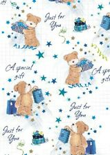 2 Sheets Gift Wrapping Paper HAPPY BIRTHDAY Teddy Bear Blue Mens Ladies Dad