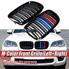 M-Color Front Kidney Grille Bumper Grill For BMW X5 X6 E70 E71 07-13 Gloss Black