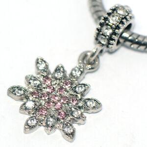 1X snowflake pink dangle charm bead crystal silver fit european chain bracelet