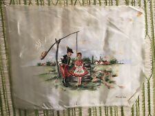 Vintage handpainted Scandinavian Couple by well on fabric - signed Fodor Teri