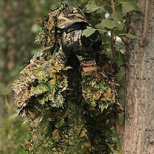 Leaf Ghillie Suit Woodland Camo Camouflage Clothing 3D Jungle Hunting Pretend