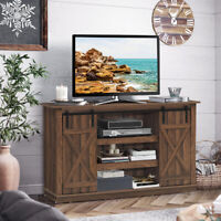 "Sliding Barn Door TV Stand for TVs Up to 60""Console Table w/Storage Shelf Brown"
