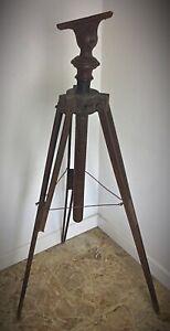 Antique trépied en bois pour longue vue  XIXème. A restaurer ou à détourner