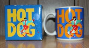 Vintage HOT DOG Skier Skiing Coffee Mug By Russ Berrie New NOS in Box