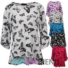 Womens Asymmetric Butterfly Top Ladies Roll Up Sleeves Butterflies Print Top