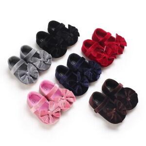 Newborn Princess Baby Girl Velvet Crib Shoe Infant Rubber PreWalker Trainer 0-18