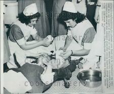 1952 Nurses Tend IL High School Student Chemistry Class Explosion Press Photo