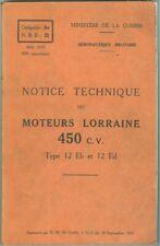 Notice technique des moteurs Lorraine 4560 CV Type 12 Eb et 12 Ed  1929