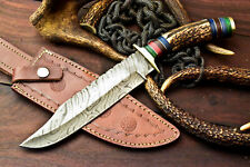 12.5'' | Custom Hand Made Damascus Steel Blade Hunting Knife | Great Stag Antler