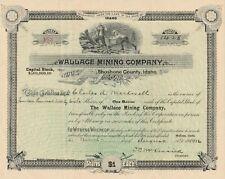Wallace Mining Company - Stock Certificate 1916 Idaho Scripophily
