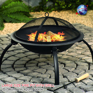 LARGE BLACK BBQ FIRE PIT PATIO GARDEN OUTDOOR CAMPING FOLDING HEATER STOVE GRILL