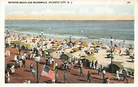 Atlantic City NJ~Bathing Beach Umbrellas~US Flag on Boardwalk~1920s Fred Hess PC