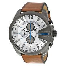 Deisel Men's DZ4280 Mega Chief Chronograph White Dial Brown Leather Watch