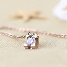 18K White Gold/ Rose Gold GP 6mm Simple Cute Crystal Necklace Pendant Chain Gift