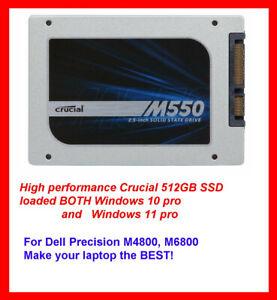 Crucial M550 512GB SSD for Dell Precision M4800 M6800 Load BOTH Windows 11 & 10