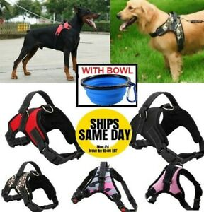 No Pull Adjustable Dog Pet Vest Harness PLUS COLLAPSIBLE BOWL Nylon Small XL XXL