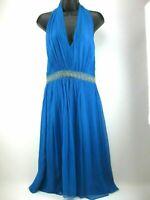 Maggy London Silk Dress Size 8 Blue