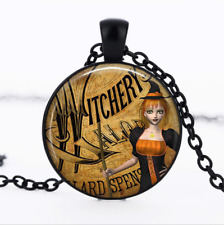 Cat-eyed Witch Black Glass Cabochon Necklace chain Pendant Wholesale