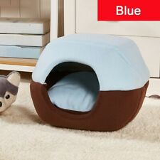 2-in-1 Pets Bed for Cat Dog Pet Tent Cave Bed for Cat Foldable Blue Cat House Us