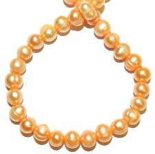"""NP551f Pink Apricot 6mm Semi- Round Cultured Freshwater Pearl Gemstone Beads 15"""""""
