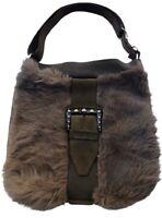 Vintage RONDO LEATHER GOODS Medium Hand Bag Purse Brown w Fur