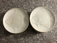 Pottery Barn FISH Salad Plates Appetizer Dessert Set of 2