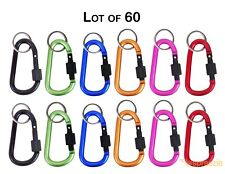 "Carabiner 3"" Aluminum Hook Twist Lock Keychain Key Ring Spring Belt Clip 60 Pack"