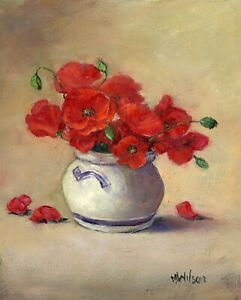 Original Oil Painting by Marjorie Wilson  'Poppies in a Little Bowl'