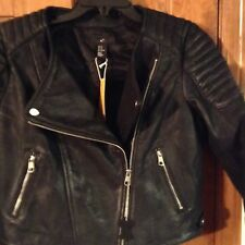 New H&M Genue Leather Premium Qualty destrees Motorcycle Jacket size  12 $600