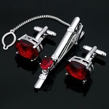 Solid Sterling 925 Silver Natural Gem Stone Garnet Cufflink & Tie Pin Set