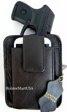 BROWN LEATHER CONCEALMENT GUN STORAGE HOLSTER PACK for TAURUS CURVE .380