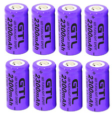 8 X GTL 3.7V CR123A 16340 2300mAh Rechargeable Li-ion Lithium Battery For Camera