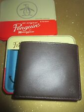 NEW Original Penguin by Munsingwear Wallet Men's ID $40 RV Brown Frame Leather