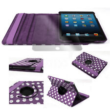 CASE COVER+SCREEN PROTECTOR SWIVEL STAND PU PURPLE DOT APPLE IPAD 2 2ND 3RD 4TH